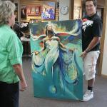 Customer pickup of original painting © Malcolm Farley