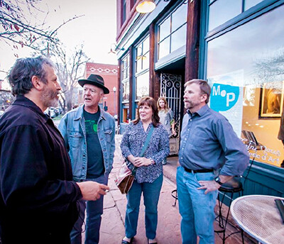 Mark Sink, Rupert Jenkins, Barb and Gary outside at Entre Nous