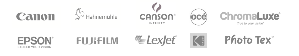 We use products from Canon, Fujifilm, Oce, kodak. hahnemuhle, canson-infinity, lexjet, chromaluxe, phototex, and more