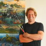 Portrait of Robert Lyn Nelson with his artwork courtesy of Robert Lyn Nelson